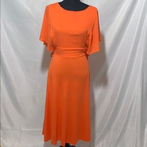 ZARA orange dress with open back and flowy sleeves
